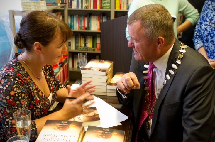 Mayor, Sean Power, and Orla McAlinden discussing the trubulations of publishing
